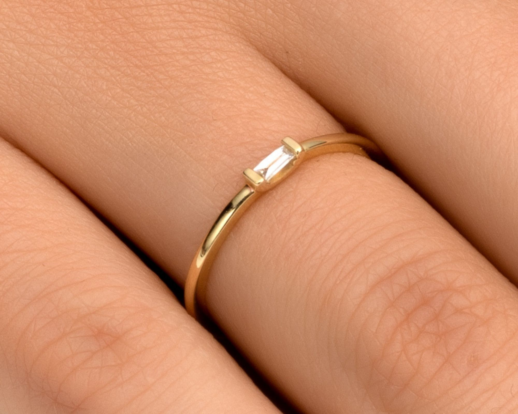 Diamond Ring For Women 4-14US Baguette Diamond Engagement Ring or Wedding Band 0.05 ct Handmade Thin Minimalist Affordable Jewelry in 14k//18k White Rose or Yellow Solid Gold Diamond Gift Ring