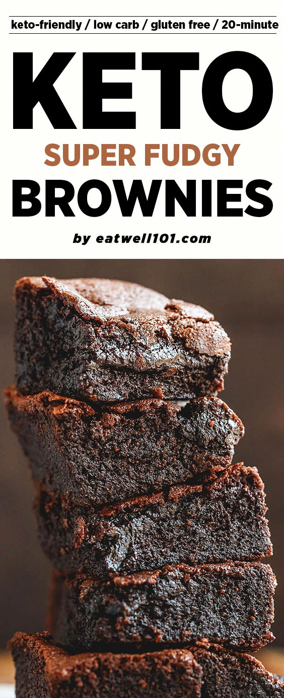 Low-Carb Keto Brownies Recipe - fudgy, and super easy to make, these low carb flourless brownies li