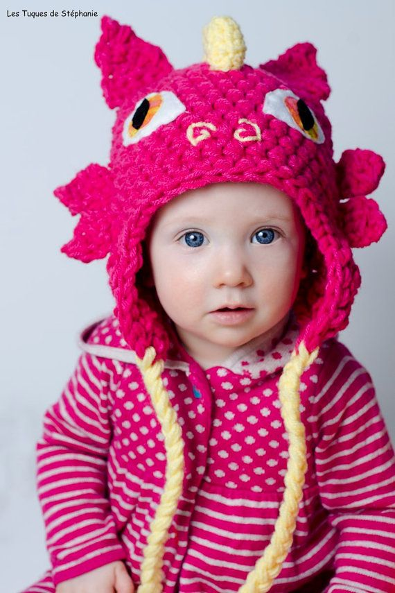 Crocheted Dragon hat LINED white fleece CUSTOM, earflap hat dragon ...