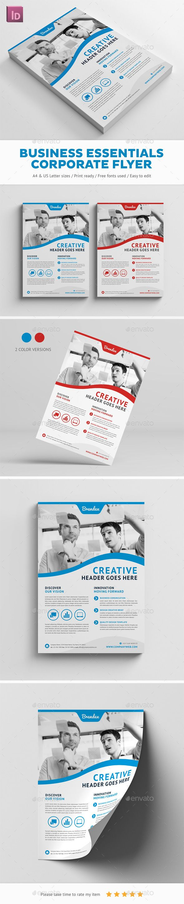 Business Essentials Corporate Flyer — InDesign INDD #template #fresh ...