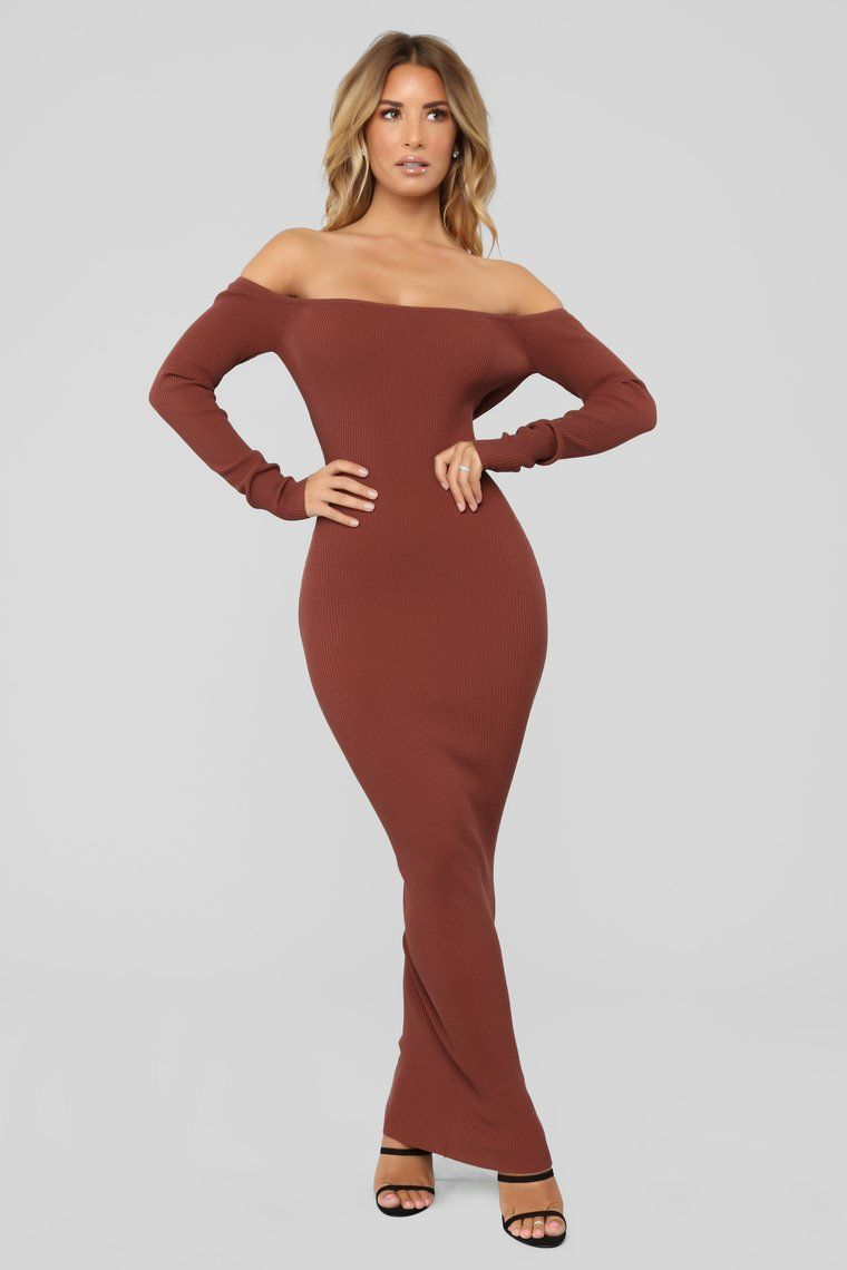 b0997a2b3731 Hang Back With Me Off Shoulder Dress - Chocolate brown dress