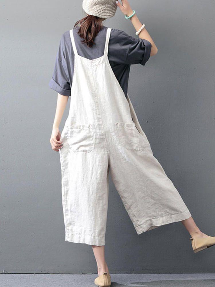 d0fce6da655 M-5XL Women Solid Color Strap Cotton Wide Leg Jumpsuit - Banggood Mobile