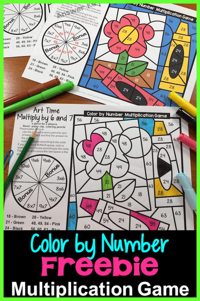 A New Twist On The Color By Number Activities A Color By Number Game For 2 Players Freebie Multiplication G Multiplication Number Games Multiplication Games