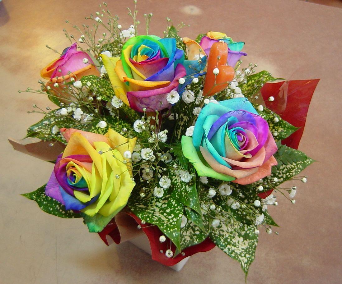 Moroccan Rainbow Roses Baby\'s Breath Wedding Bouquet. (My big fat ...