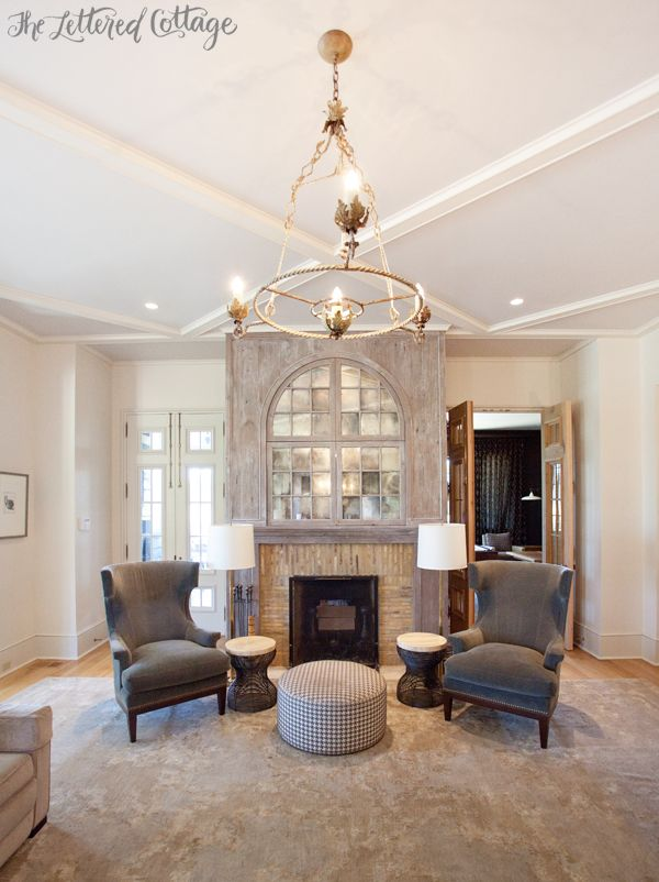 Foyer Wing Chair : Living room fireplace wingback chairs chandelier