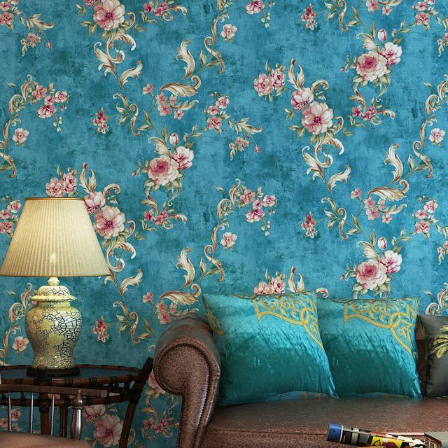 Tapete Retro Country Pastoral Blumen papel de parede 3D wandbild - tapete f r wohnzimmer