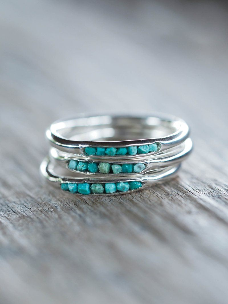 Nevada Turquoise Ring with Hidden Gems - Gardens of the Sun   Ethical Jewelry