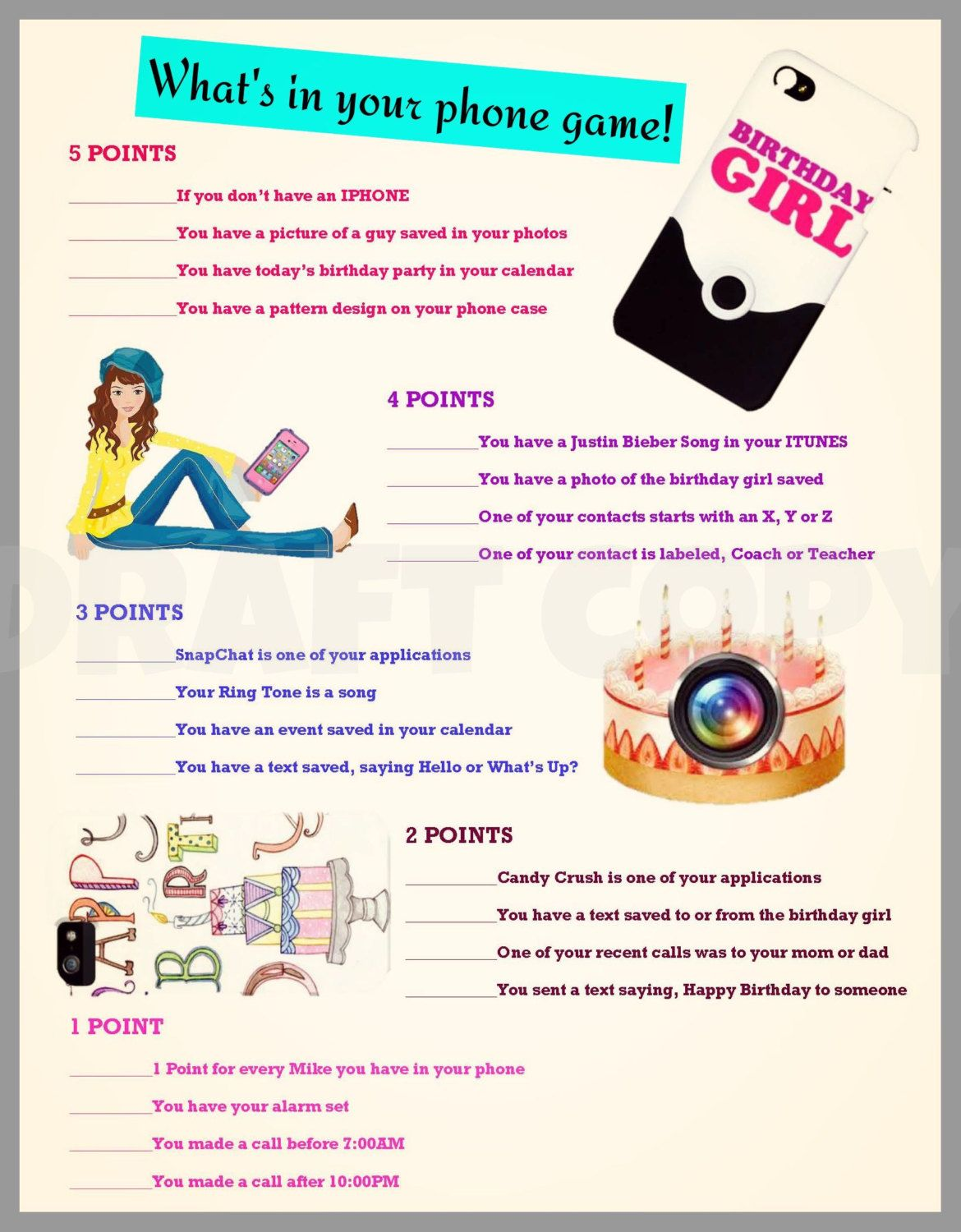 Girls Birthday Party Game Whats In Your Phone Etsy Girls Birthday Party Games Birthday Party Games Birthday Party For Teens
