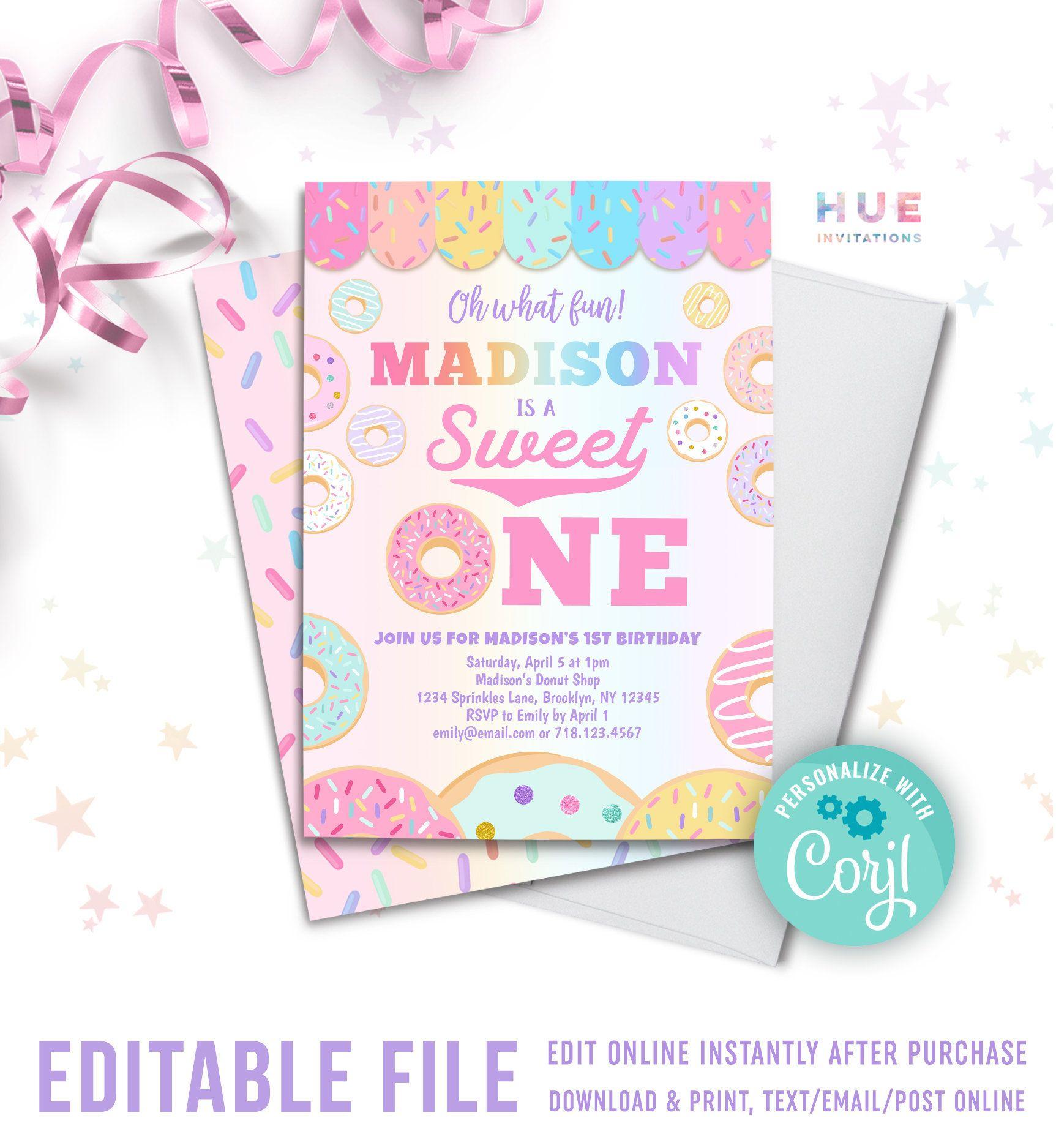Sweet One Donut 1st Birthday Invitation Instant Download Etsy 2nd Birthday Invitations Bday Invitations Birthday Invitations