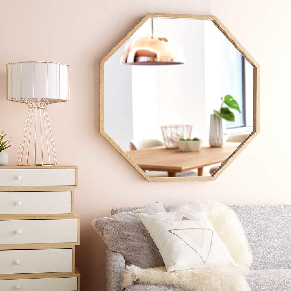 miroir en ch ne clair 100x100cm light oak lights and. Black Bedroom Furniture Sets. Home Design Ideas