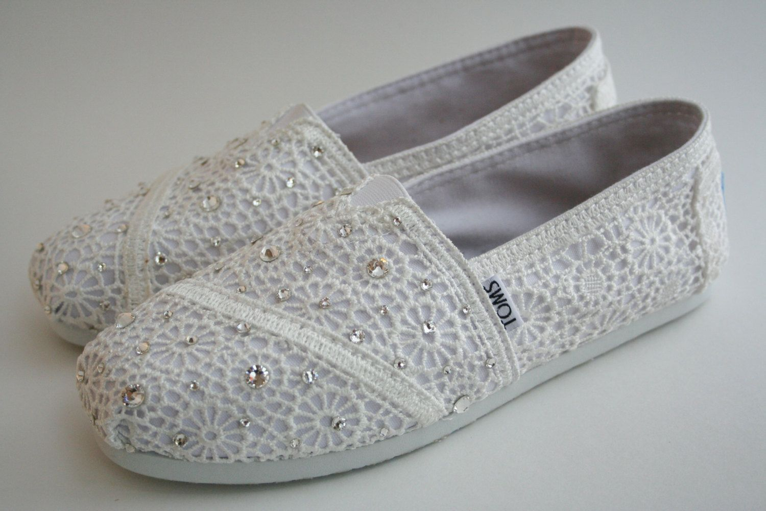 TOMS Wedding Shoes White Crochet with by NakitaJaneDesigns on Etsy