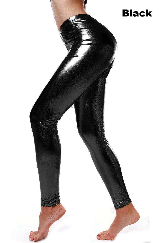 a4db7a4829436b Diamondkit Women Faux Leather Leggings Wet Look Metallic Waist Legging Pants  Trousers