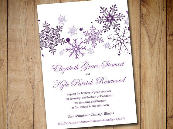 printable wedding invitation template winter wedding snowflake