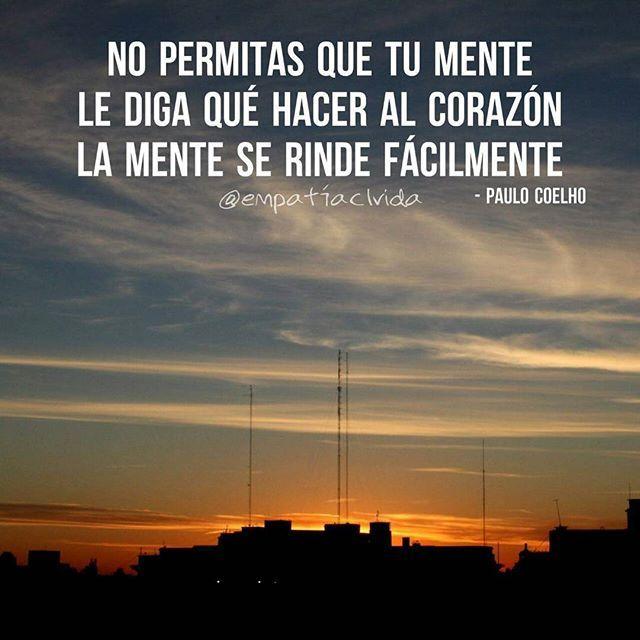 """""""No permitas que tu mente le diga qué hacer al corazón, la mente se rinde fácilmente"""" - Paulo Coelho  #eclv #ElPensamientoCorrecto ✔ . . .  P H O T O: @franrc_"""
