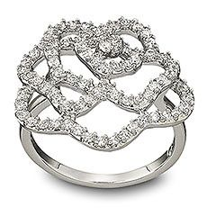 18k black rhodium plated crystal crown wave ring fashion party