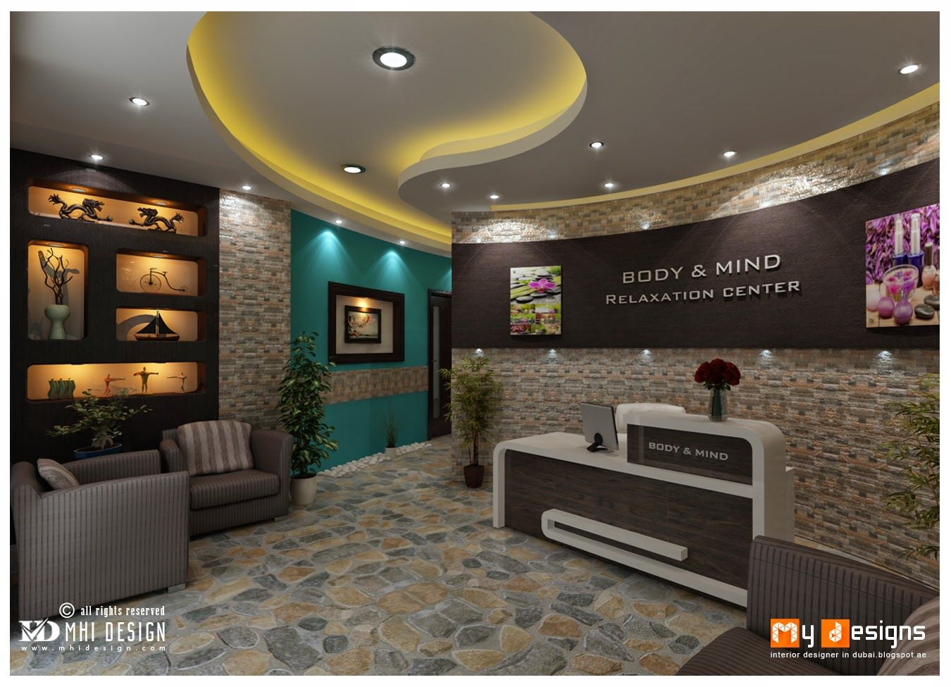 Dubai Beauty Salons Interior Design Proposal For One Of MHI DESIGN Client.  Find More Interior