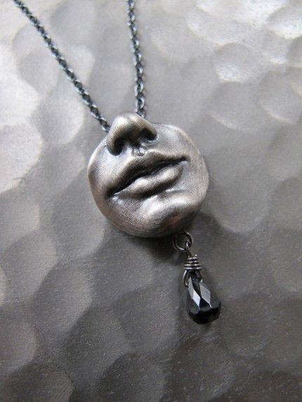 Handmade Designer Clay Pendant Unusual Plastic Accessory Pendant on Chain