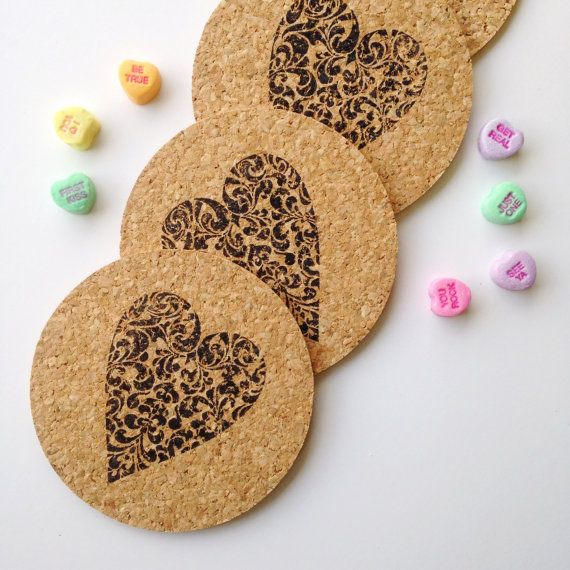 Valentine Coasters - Heart Decor - Valentine's Day Decor - Heart Home Decor - Rustic Wedding Decor - Wedding Gift for Couple - Heart Coaster