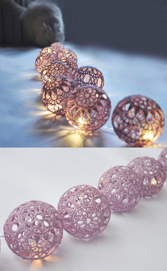 String Fairy Light Christmas lights Wedding Lighting Bedroom lighting 20 Lilac Lace Crocheted balls Night Lights Garland light #lightbedroom