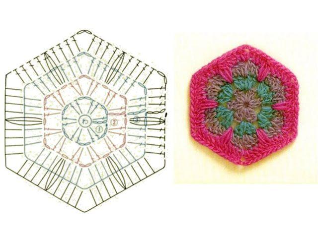 Gráfico Flor Africana Hexagonal | Manos de Tete | Crochet y mas ...