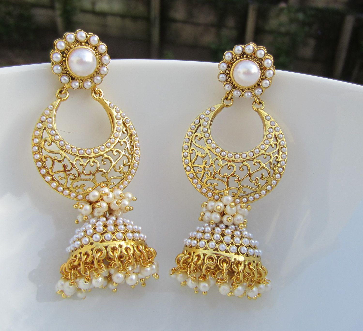 Pearl Chandbali Jhumkas Indian Jewelry Long Pearl Jumkis | Wedding ...