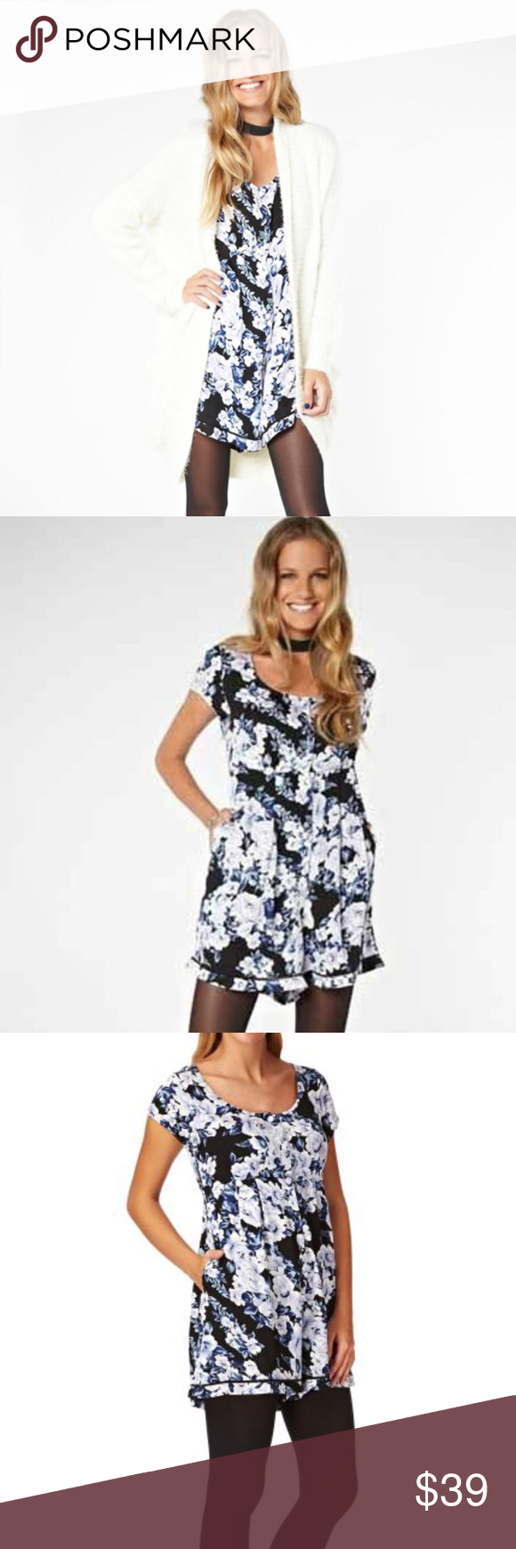ab47a5b3dd4 Mink Pink Blue black Floral Romper w  pockets XS Website description  The  Moonlit Fountain Playsuit by MinkPink features a floral pattern throughout  and ...