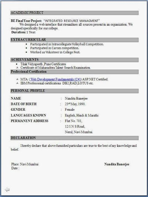 Engineer+Fresher+Resume+Format Health \ Fitness Pinterest - latest resume format doc