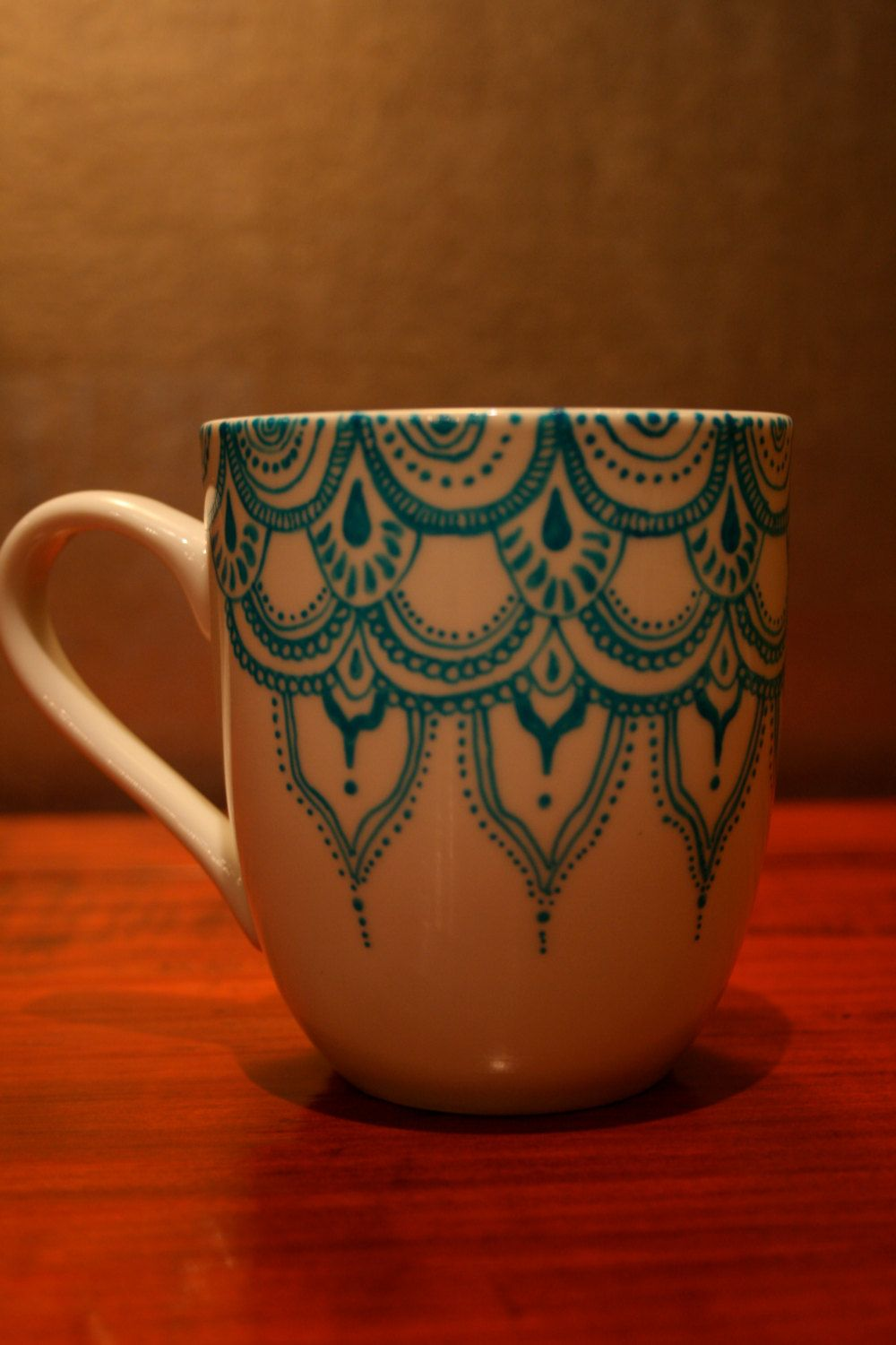 Hand Painted Porcelain Mug With Blue Moroccan Detail. $30