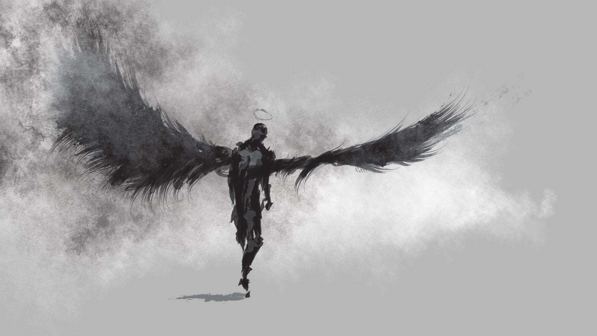 1920x1080 Angel Drawing Wings Bw Gray Grey Hd Wallpaper