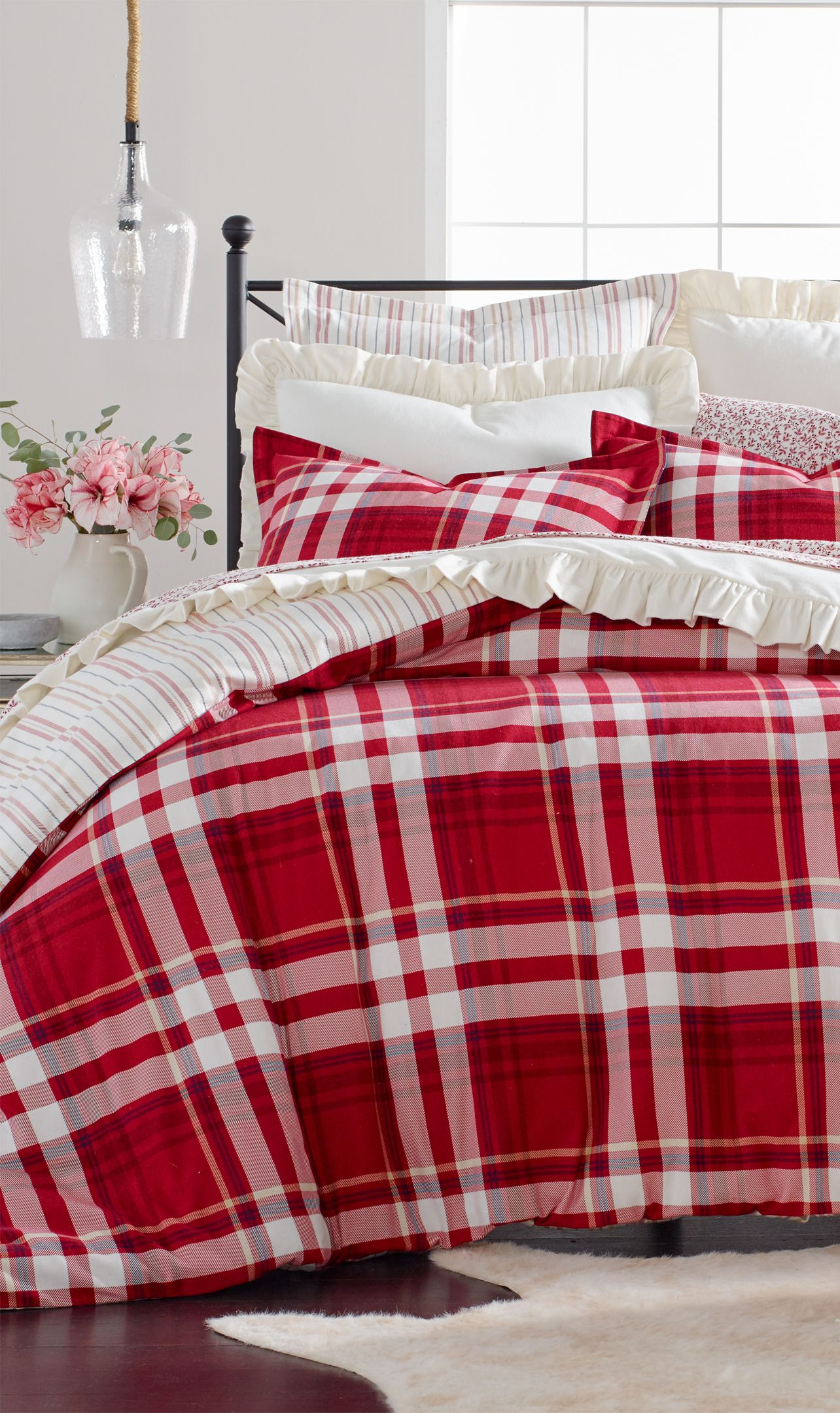 Martha Stewart Collection Closeout Winter Plaid Cotton Flannel Bedding Collection Created For Macy S Reviews Bed In A Bag Bed Bath Macy S Bed Linens Luxury Flannel Bedding Duvet Covers