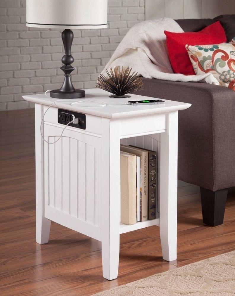 Nantucket White Rectangular Wood Side Table With Usb Charging Ports New Atlantic Atlantic Furniture Side Table Wood Furniture
