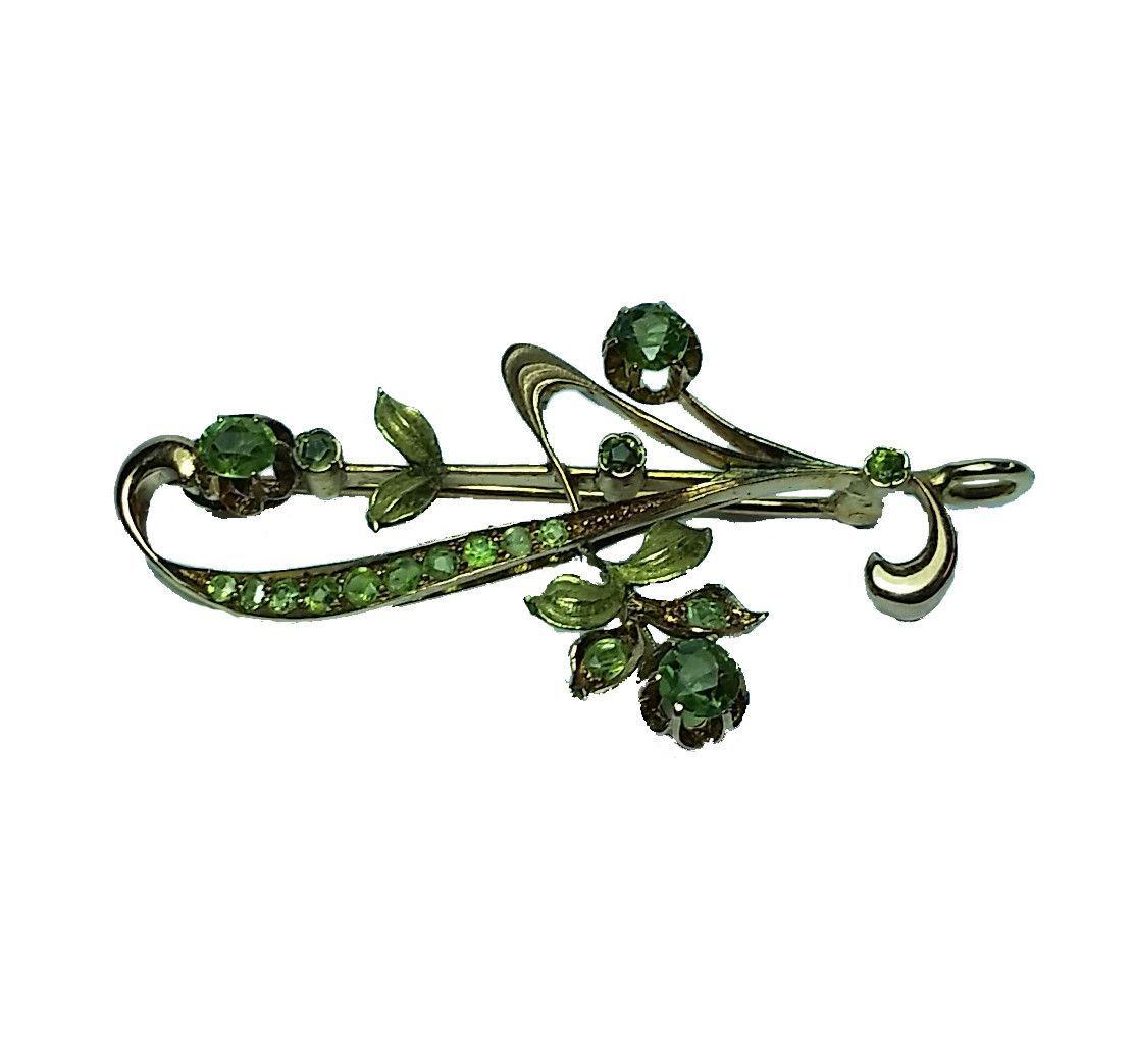 Green Tourmaline Leaf Pin