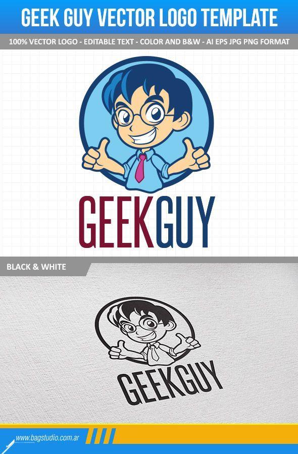 Geek Guy Vector Logo Template | Logo templates, Text color and Template