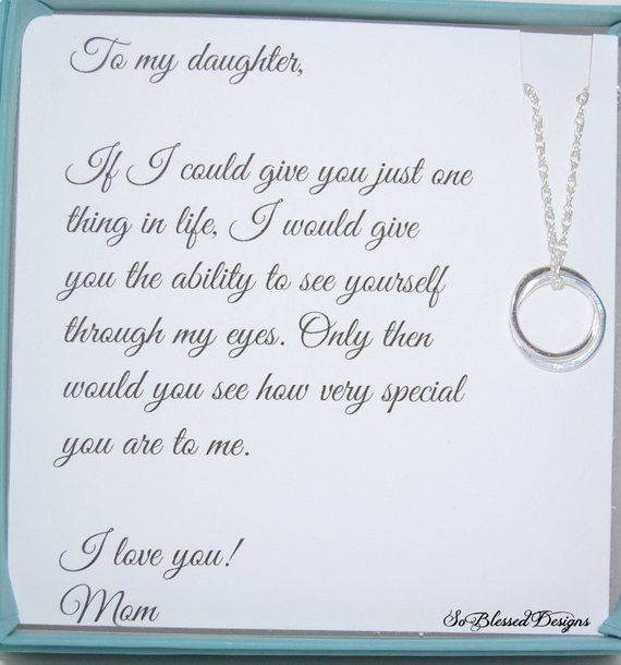 Gifts For Daughter From Mom DAUGHTER Necklace To Daughters POEM Birthday Gift