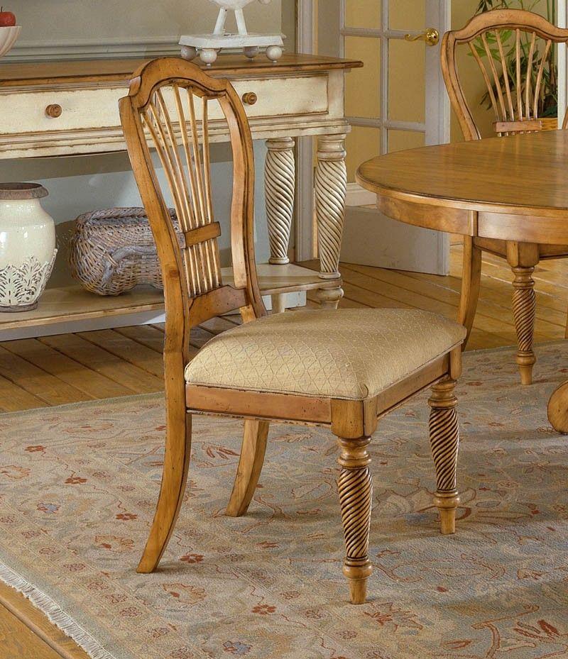 Hillsdale Wilshire Antique Pine 7 Piece Rectangle Dining Set (4 Side Chairs  - 2 Arm - Hillsdale Wilshire Antique Pine 7 Piece Rectangle Dining Set (4 Side