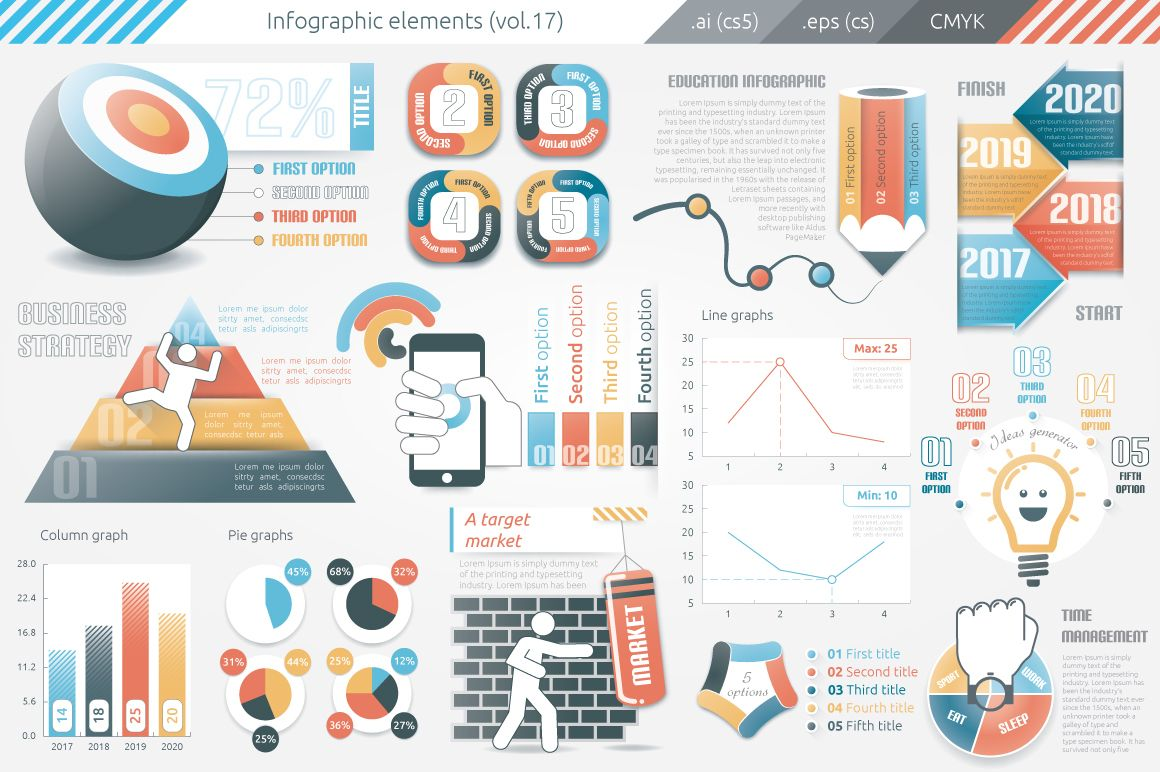 This infographic template v.17 contains:7 graphs: line ...