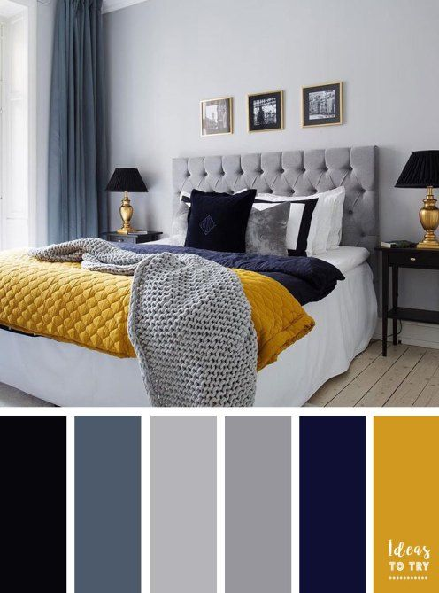 15 Best Color Schemes For Your Bedroom Grey Navy Blue And Mustard