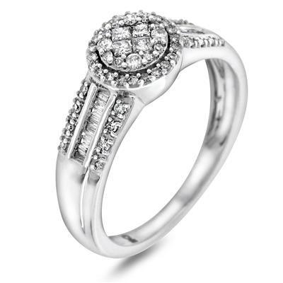 Gull Ring Med Diamant 0 33 Ct W P Hvitt Gull Frieri