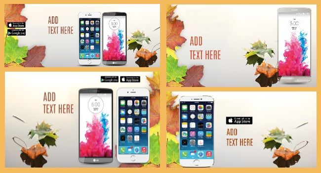 Enjoy a comprehensive 'Fall leaves' app MARCOM graphics templates pack: Google Play screenshots, social covers, Twitter and Facebook install ads. #MobileAppMarketing #MobileAppDevelopers