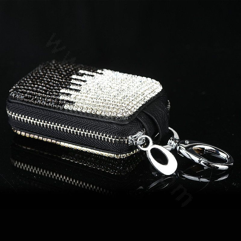 77 09 Luxury Crystal Auto Key Bag Pocket Genuine Leather Car Key
