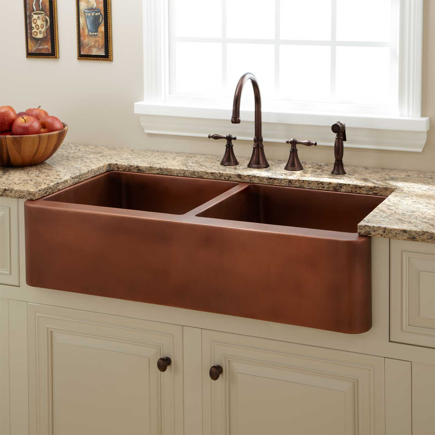 33 kiana curved front copper farmhouse sink for the home