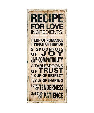 'Recipe for Love' Sign #zulily #zulilyfinds