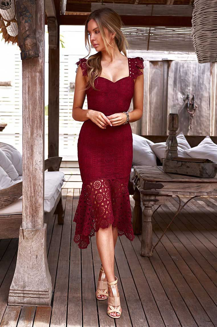 Giselle Lace Midi Dress Wine Giselle Dress Red Cocktail Dress Long Cocktail Dress [ 1145 x 762 Pixel ]