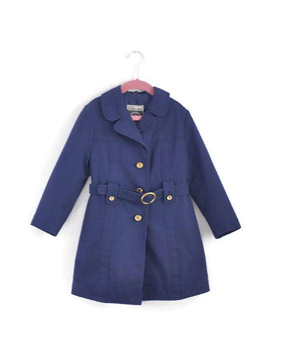 Girls Coat, Girls Vintage Coat, Girls Trenchcoat, Girls Navy Blue ...