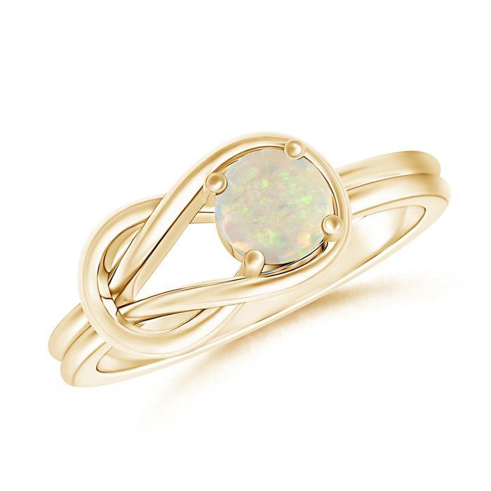 Angara Diamond Natural Opal Three Stone Ring in Yellow Gold AAgpM