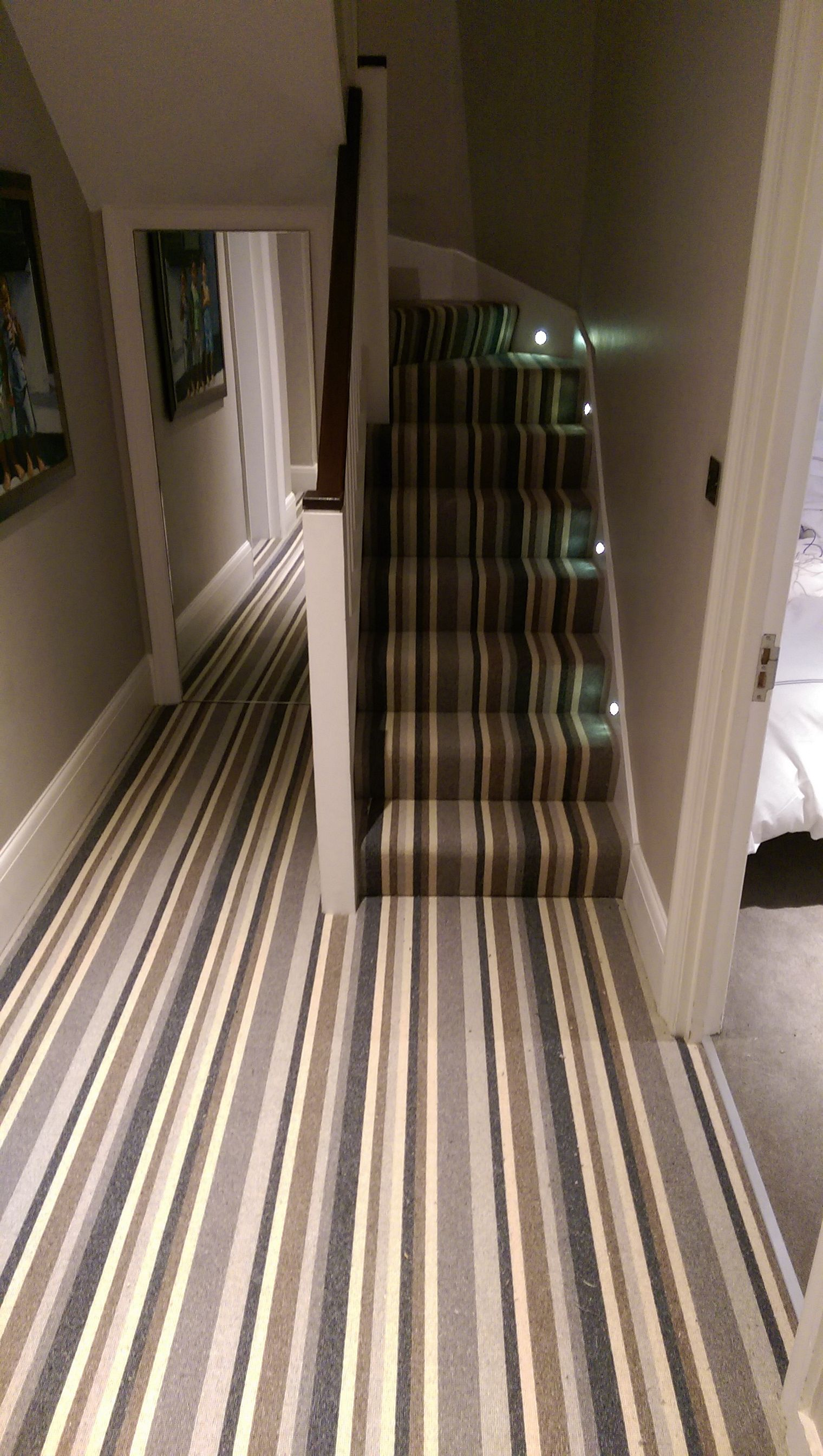 Best Stripe Multi Coloured Carpet On Stairs And Landing By B R 640 x 480