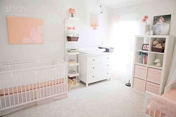 Peach Pink Grey Shared Nursery Sister Bedroom From Shay Cochrane Via Spearmint Baby