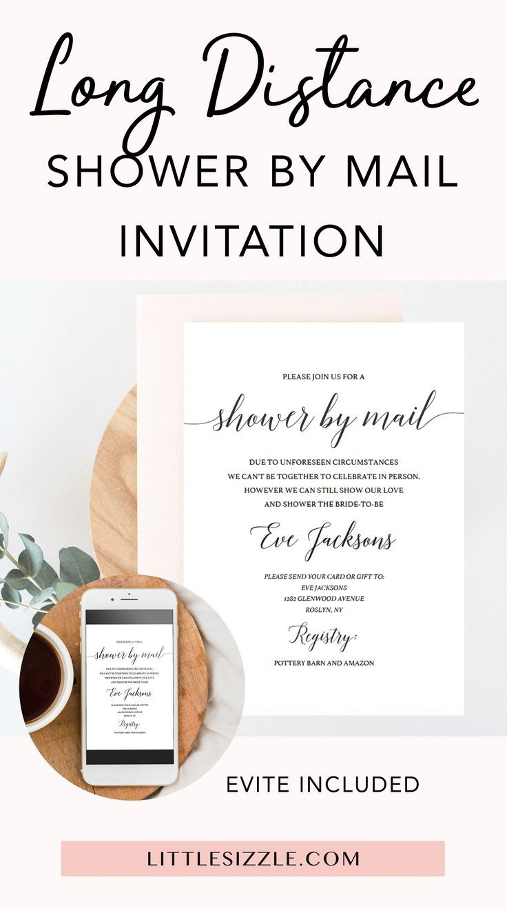 Long distance shower by mail invitation and evite template