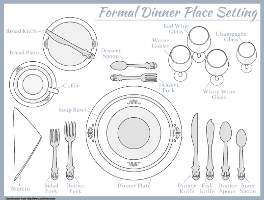 Formal Dinner Place Setting 7 Course Meal Party Menu