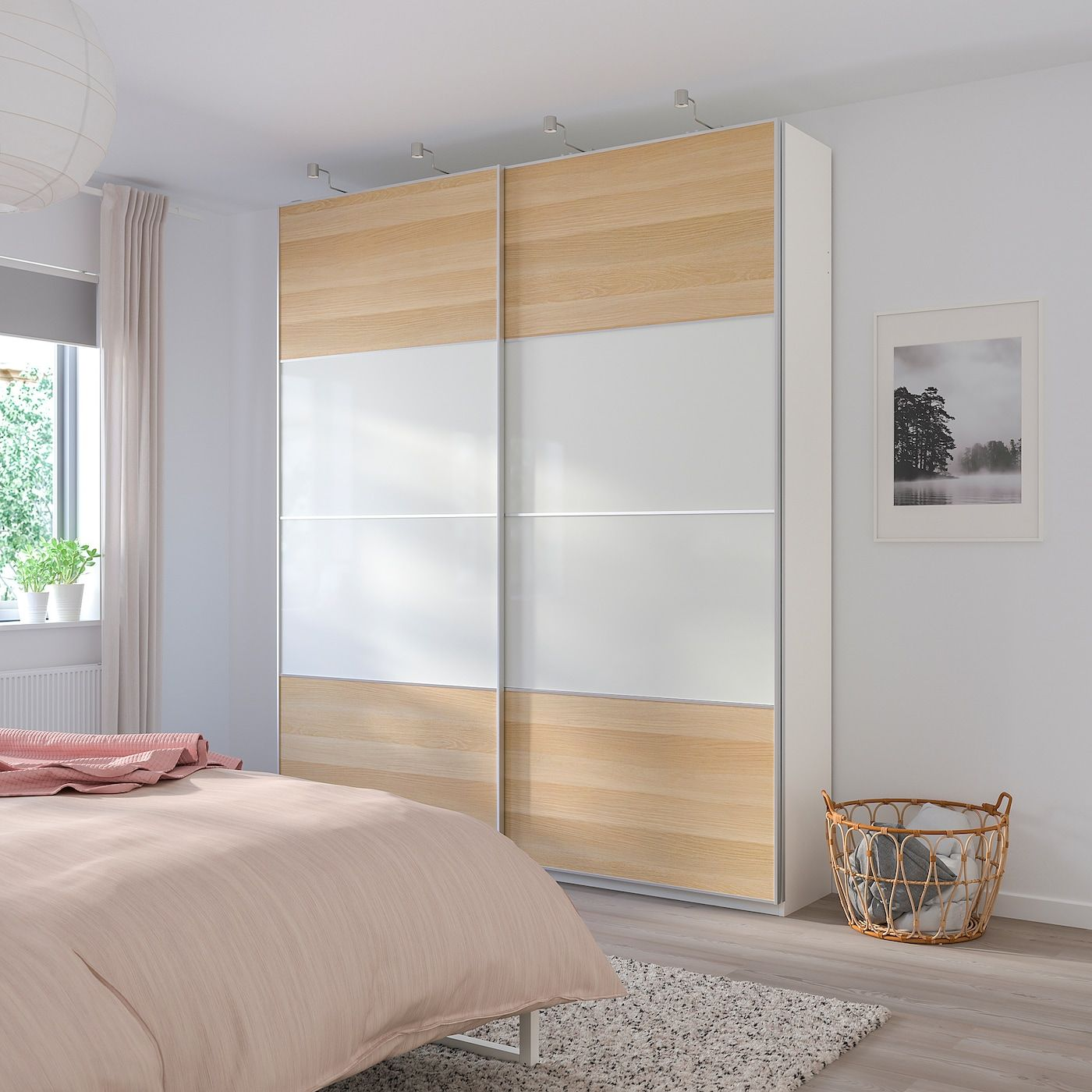 Mehamn 4 Panels For Sliding Door Frame White Stained Oak Effect White Find It Here Ikea In 2020 Sliding Doors Ikea Ikea Wardrobe